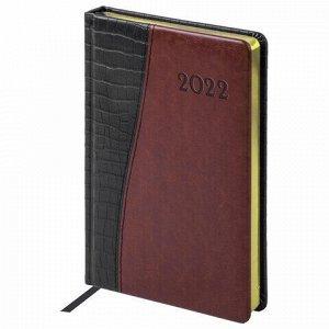 """Ежедневник датированный 2022 А5 138x213 мм BRAUBERG """"Cayman"""", под кожу, черный/коричневый, 112740"""