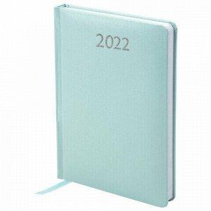 """Ежедневник датированный 2022 А5 138x213 мм BRAUBERG """"Profile"""", балакрон, мятный, 112766"""