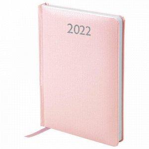 "Ежедневник датированный 2022 А5 138x213 мм BRAUBERG ""Profile"", балакрон, светло-розовый, 112767"
