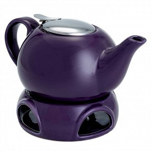 Чайник заварочный 750 мл с фильтром и подставкой Ф19-057R фиолетовый