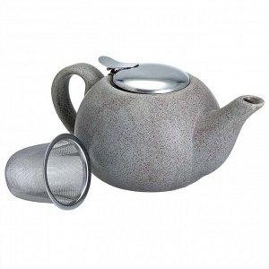 Чайник заварочный 750 мл с металлическим фильтром Ф19-059R серый