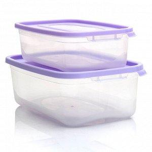 """Комплект контейнеров прямоугольных 2 штуки 1,2 л и 2,2 л """"КАСКАД"""" 59002"""
