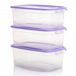 """Комплект контейнеров прямоугольных 3 штуки 1 л """"КАСКАД-2"""" 57001"""