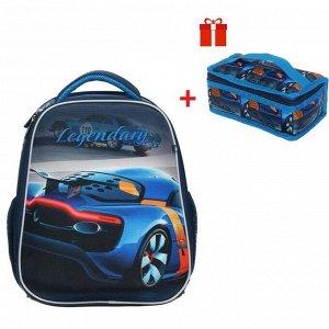Рюкзак каркасный, Hatber, Ergonomic Plus, 38 х 29 х 16, с термосумкой, «Авто»