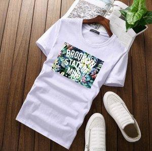 """Мужская футболка, принт """"Тропический"""", с надписью, цвет белый"""