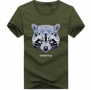 """Мужская футболка, принт """"Геометрический енот"""", с надписью, цвет серый"""