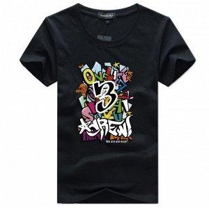 """Мужская футболка, принт """"Граффити"""", с надписью, цвет черный"""