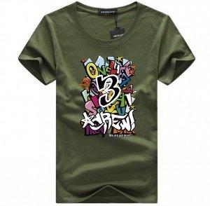 """Мужская футболка, принт """"Граффити"""", с надписью, цвет зеленый"""