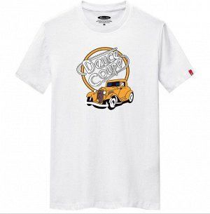 """Мужская футболка, принт """"Машина"""", с надписью, цвет белый"""