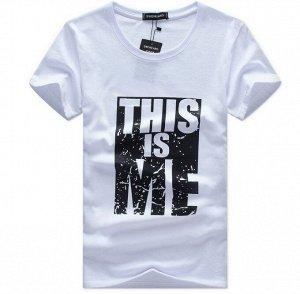 """Мужская футболка, надпись """"This is me"""", цвет белый"""