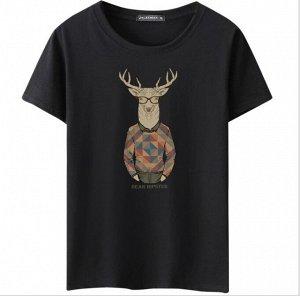"""Мужская футболка, принт """"Олень-хипстер"""", цвет черный"""