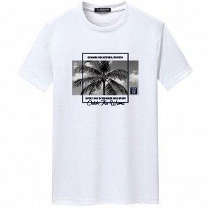 """Мужская футболка, принт """"Пальма"""", с надписями, цвет белый"""