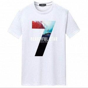 """Мужская футболка, принт """"Цифра 7"""", с надписями, цвет белый"""