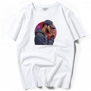 """Мужская футболка, принт """"Темнокожий мужчина в кепке"""", цвет белый"""