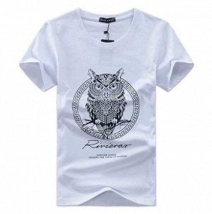"""Мужская футболка, принт """"Сова"""", цвет белый"""