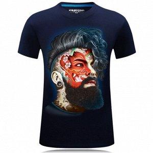 """Мужская футболка, принт """"Лицо мужчины с татуировкой"""", цвет синий"""