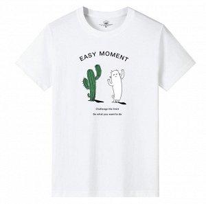 """Мужская футболка, принт """"Кактус и белый кот"""", цвет белый"""