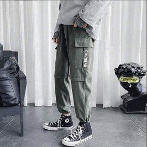 """Мужские штаны-карго, надпись """"Cornerb"""", цвет зеленый"""