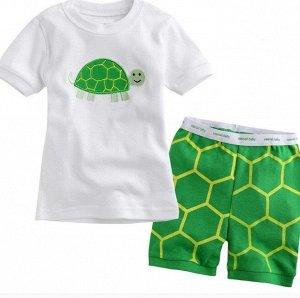 """Детская пижама с принтом """"Черепаха"""", цвет белый/зеленый"""