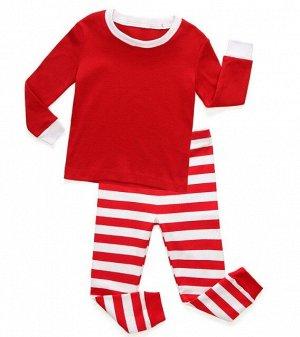Детская пижама (лонгслив + брюки) в полоску, цвет красный