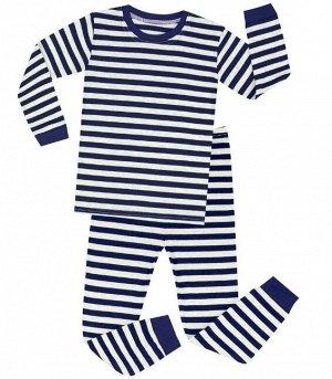 Детская пижама (лонгслив + брюки) в полоску, цвет темно-синий/белый