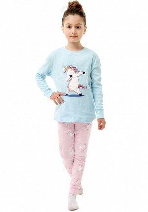 """Детская пижама (лонгслив + брюки) с принтом """"Единорог"""", цвет голубой/розовый"""