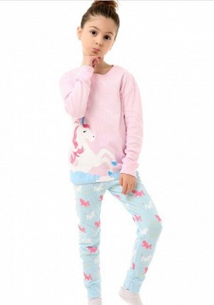 """Детская пижама (лонгслив + брюки) с принтом """"Единорог"""", цвет розовый/голубой"""