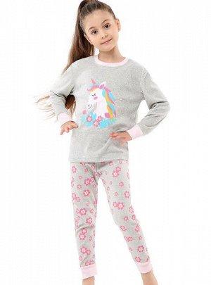 """Детская пижама (лонгслив + брюки) с принтом """"Единорог"""", цвет серый"""