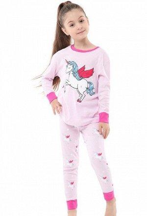 """Детская пижама (лонгслив + брюки) с принтом """"Единорог"""", цвет розовый"""