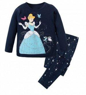 """Детская пижама (лонгслив + брюки) с принтом """"Принцесса"""", цвет темно-синий"""