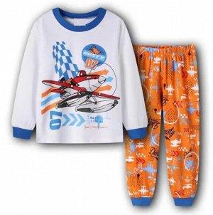 """Детская пижама (лонгслив + брюки) с принтом """"Самолет"""", цвет белый/оранжевый"""