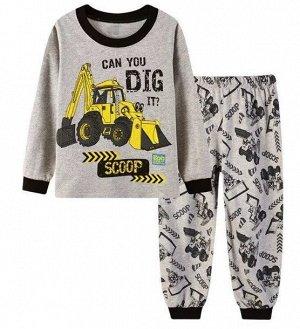 """Детская пижама (лонгслив + брюки) с принтом """"Трактор"""", цвет серый"""