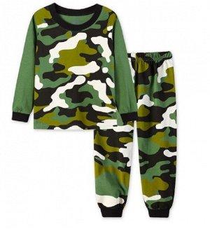 """Детская пижама (лонгслив + брюки) с принтом """"Камуфляж"""", цвет зеленый"""