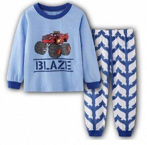 """Детская пижама (лонгслив + брюки) с принтом """"Машина"""", цвет синий/белый"""