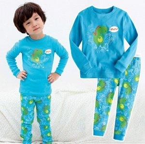 """Детская пижама (лонгслив + брюки) с принтом """"Динозавр"""", цвет синий"""