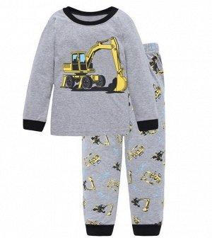 """Детская пижама (лонгслив + брюки) с принтом """"Бульдозер"""", цвет серый"""