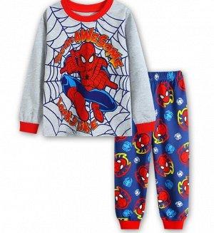 Детская пижама (лонгслив + брюки) с принтом, цвет серый/синий/красный