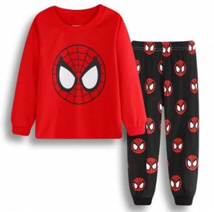 Детская пижама (лонгслив + брюки) с принтом, цвет красный/черный