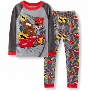 """Детская пижама (лонгслив + брюки) с принтом """"Машины"""", цвет серый"""