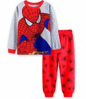 Детская пижама (лонгслив + брюки) с принтом, цвет красный/серый