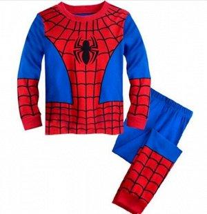 Детская пижама (лонгслив + брюки) с принтом, цвет красный/синий