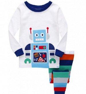 """Детская пижама (лонгслив + брюки) с принтом """"Робот"""", цвет белый"""