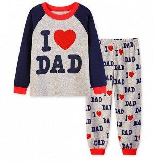 Детская пижама (лонгслив + брюки) с надписью, цвет серый/синий/красный
