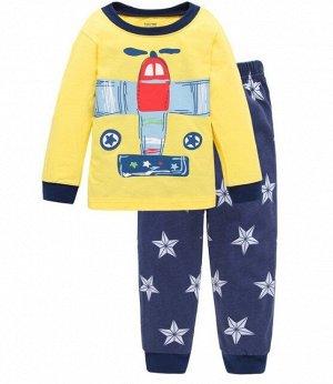 """Детская пижама (лонгслив + брюки) с принтом """"Самолет"""", цвет желтый/синий"""