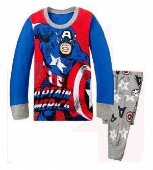 Детская пижама (лонгслив + брюки) с принтом, цвет синий/серый/красный
