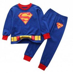 Детская пижама (лонгслив + брюки) с принтом, цвет синий