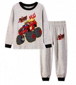 """Детская пижама (лонгслив + брюки) с принтом """"Машина"""", цвет серый"""