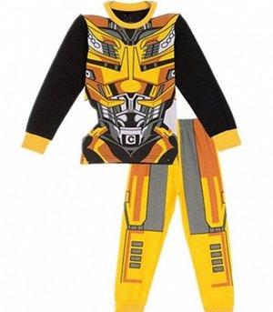 Детская пижама (лонгслив + брюки) с принтом, цвет желтый/черный