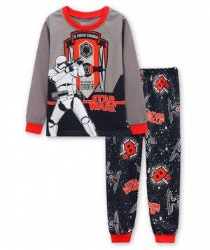 Детская пижама (лонгслив + брюки) с принтом, цвет серый/черный