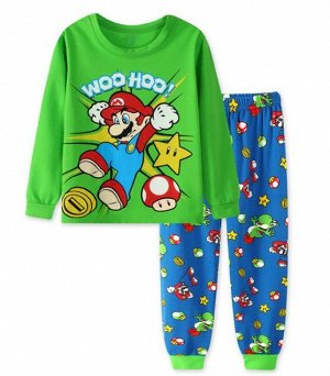 Детская пижама (лонгслив + брюки) с принтом, цвет зеленый/синий